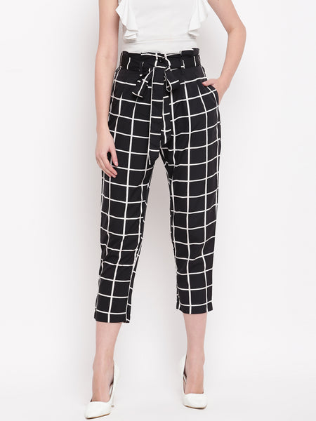 Fabnest womens crepe black and white window pane highwaisted cropped pant