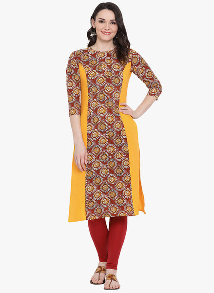Fabnest womens cotton straight kurta with panels of maroon and printed fabric.