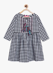 Fabnest girls cotton black and white check flared dress with pintucks, top stitch and colourful tassles