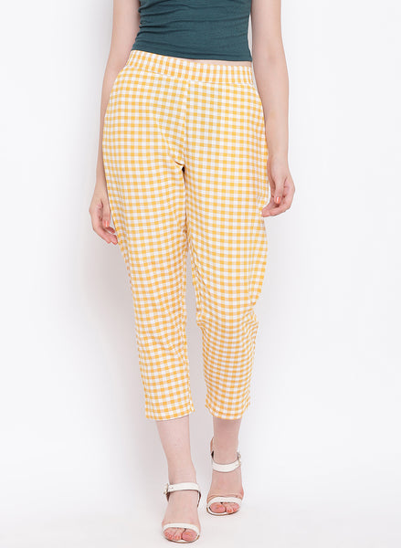 Fabnest womens handloom cotton yellow check pants