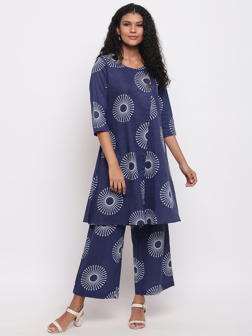 Fabnest womens indigo cotton printed aline kurta with straight cotton printed straight pants