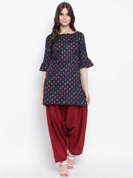 Fabnest womens cotton indigo printed flounce sleeve kurta and maroon cotton salwar set