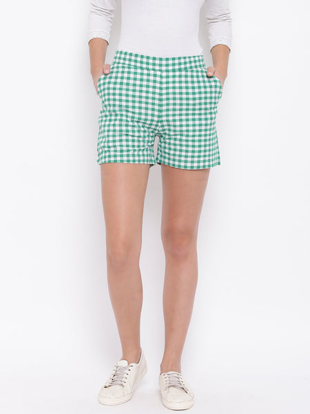 Fabnest womens cotton handloon green and white gingham shorts