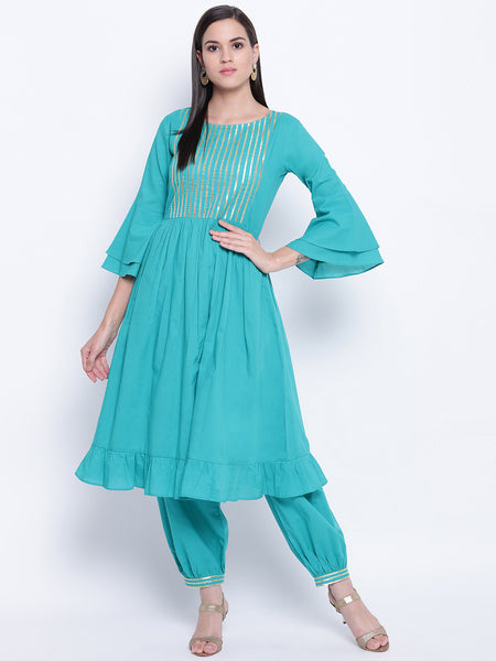 Fabnest womens teal ethnic kurta and harem pant set with flounce sleeves, gathers at waist and frill at bottom hem with gota inserts.