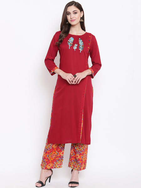 Fabnest womens rayon red floral embroidered kurta with palazzo set