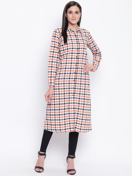 Fabnest womens orange black and white check kurta with front placket