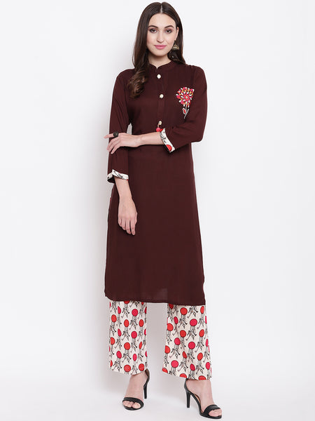 Fabnest womens rayon brown kurta palazzo set with embroidery