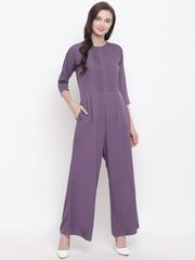 Fabnest womens crepe dull lilac jumpsuit with with pintucks at yoke