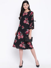 Fabnest womens black printed dress with slit sleeve