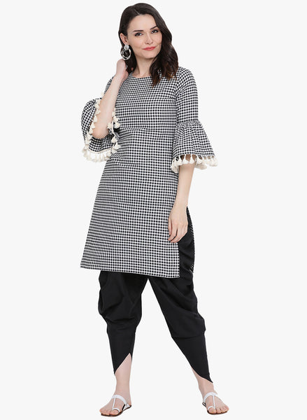 Fabnest womens black and white check straight kurta with gathered sleeves and lace at its edge.