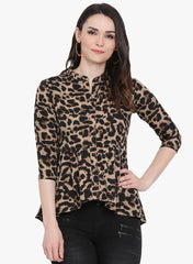 Fabnest womens animal print top with assume trial bottom hem.