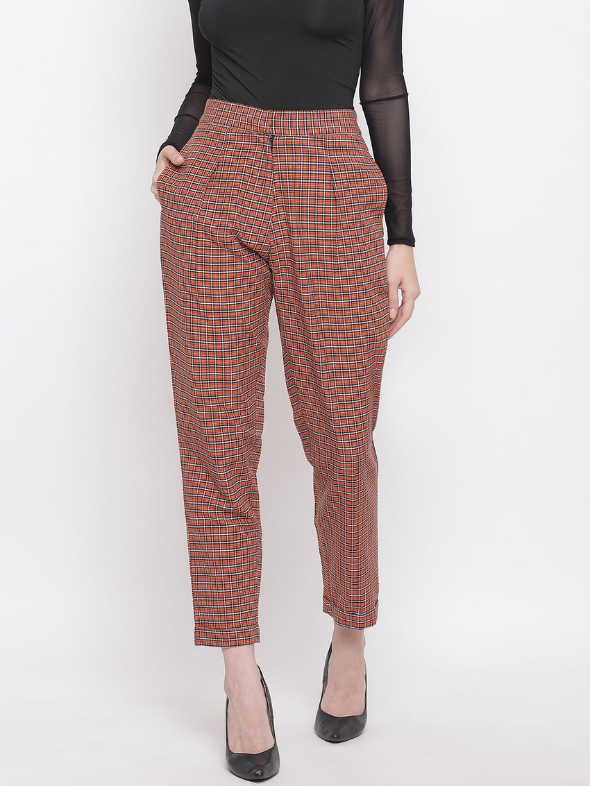 Fabnest womens handloom cotton orange check high-waist pants