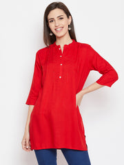 Fabnest women rayon short kurta/tunic with pintuck and cut dana work