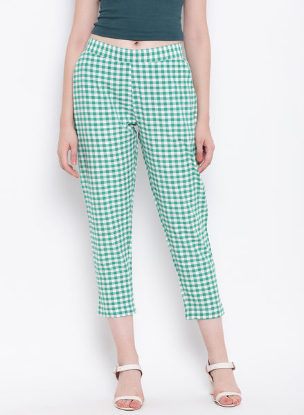 Fabnest womens handloom cotton green and white check pants