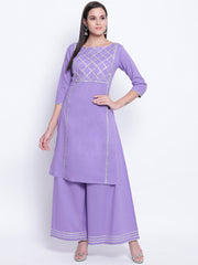 Fabnest womens lilac straight kurta and sharara set with silver gota accents