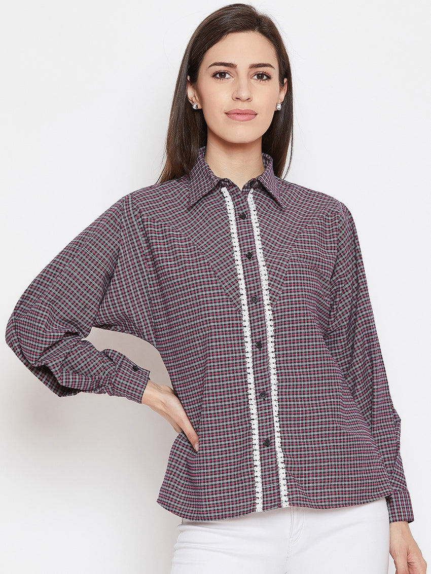 Fabnest women loose fit check shirt with lace inserts