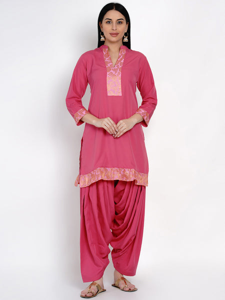 Fabnest Womens Pink Crepe Salwar Set With Brocade Inserts