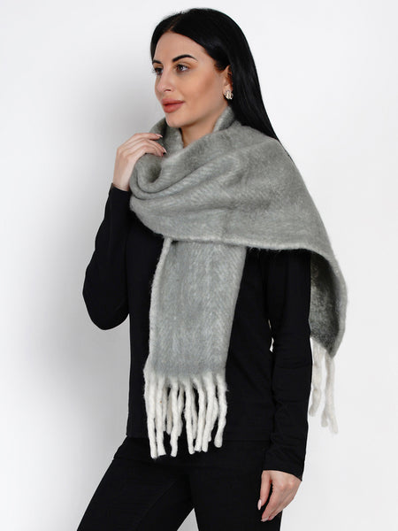 Fabnest Women Wool Blend Grey Winter Scarf With Border Feature