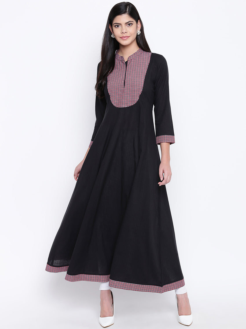 Fabnest women black cotton anarkali kurta with checkered yoke