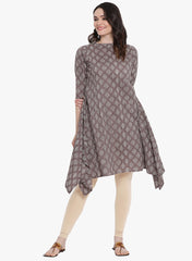 Fabnest womens grey printed cotton assume trial kurta