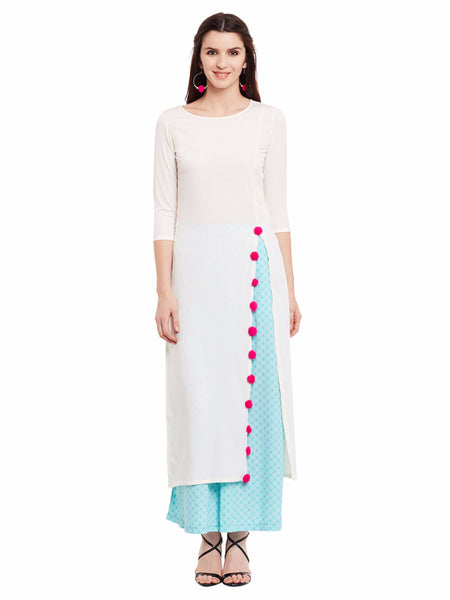 Solid Cream High Slit Kurta