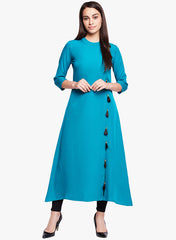 Fabnest Women's Crepe solid blue A line kurta with side slit and tassles