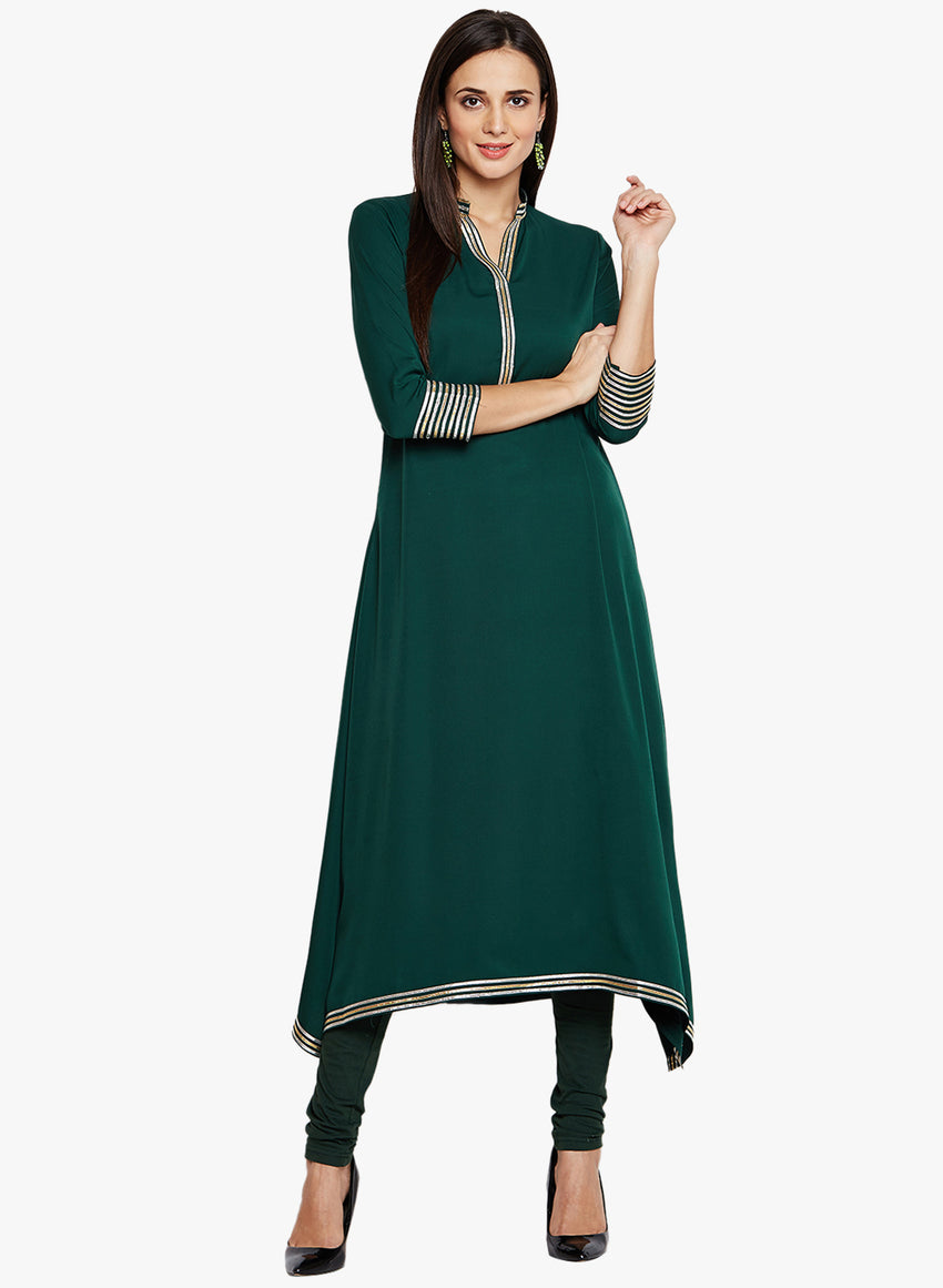 Solid Green Flowing Kurta with Gota Embellishment