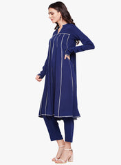 Fabnest womens navy crepe set, kalidar kurta with gota and solid straight pants