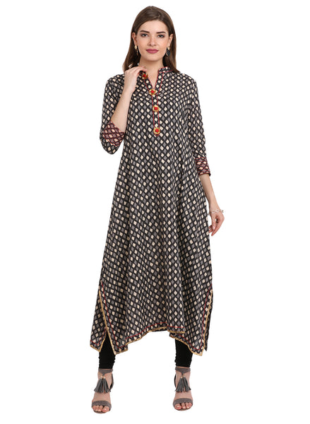 Printed Asymmetrical Kurta with Gota Inserts