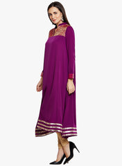 Solid Purple Free-Flowing Kurta with Brocade & Gota work