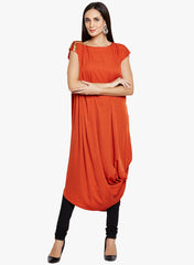 Fabnest women's crepe rust asymmetrically draped kurta with gold lace at shoulder.