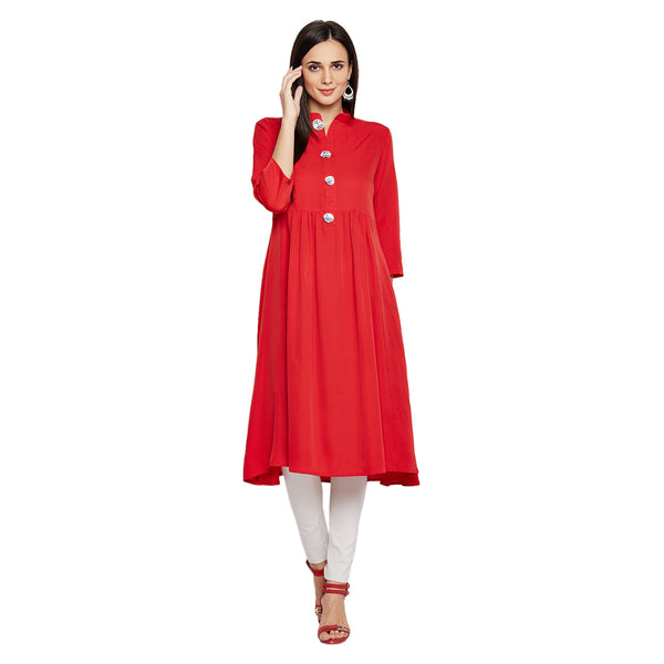 Fabnest Women's Crepe red flared kurta with silver gota flowers on the placket.