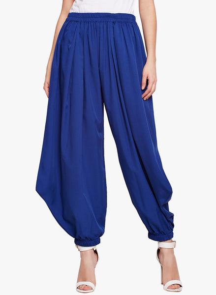 Fabnest womens blue crepe harrem pants