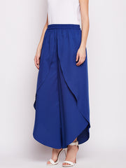 Fabnest womens crepe blue overlapping layered pants