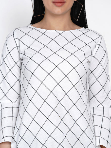 Fabnest Womens Windowpane Black And White Handloom Cotton Tunic With Flounce Sleeves