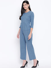 Fabnest womens cotton check jumpsuit
