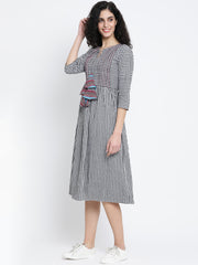 Fabnest Black and White Check Cotton Women Dress With Pintucks, Top Stitch and Colourful Tassles