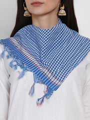 Fabnest Womens Cotton White Basic Kurta With Blue And White Check Cotton Scarf