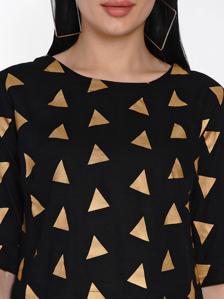Fabnest Womens Black Rayon Crop Top With Gold Foil Print