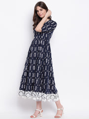 Fabnest womens cotton ikkat printed ghera dress/kurta with a broad lace at bottom hem