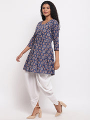 Fabnest womens indigo cotton printed peplum short kurta with white cotton dhoti salwar