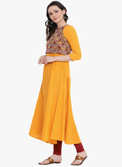 Fabnest womens cotton yellow kurta with detachable sleeveless printed top