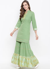 Fabnest womens pista green kurta salwar set with broace inserts