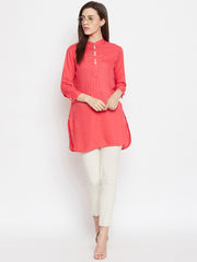 Fabnest women rayon short kurta/tunic with mother of pearl buttons