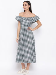 Fabnest womens cotton handloom green and white gingham off shoulder dress