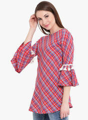 Fabnest womens cotton red check tunic with tassles at flounce sleeve