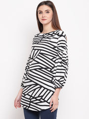 Fabnest womens crepe black and white abstract print tunic with Bishop sleeve