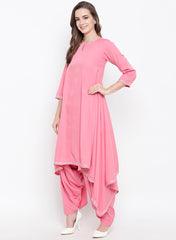Fabnest womens pink asymmetrical kurta and salwar set with gota work