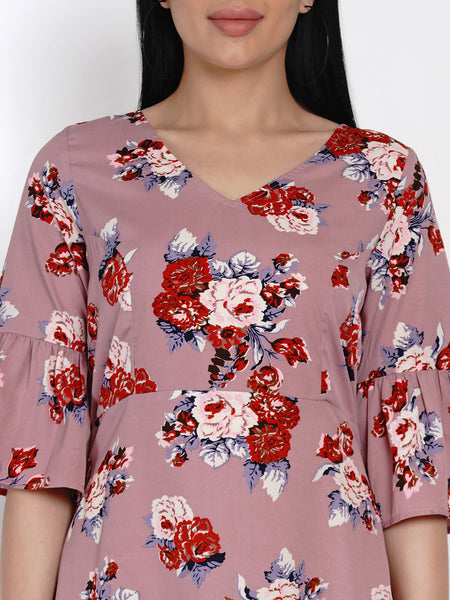 Fabnest Womens Floral Print A Line Dress With Flounced Sleeves