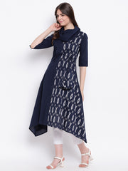Fabnest womens cotton solid indigo and ikkat print half and half kurta with cowl neck and tieup